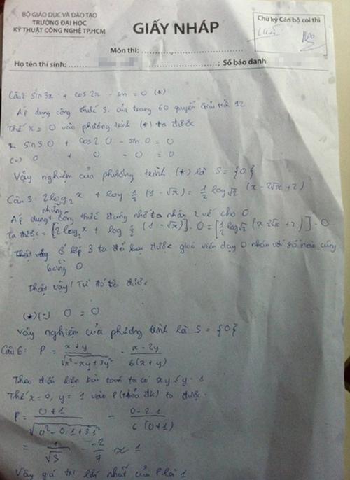 Thí sinh hướng dẫn cách giải bài Toán siêu chi tiết trên giấy nháp.
