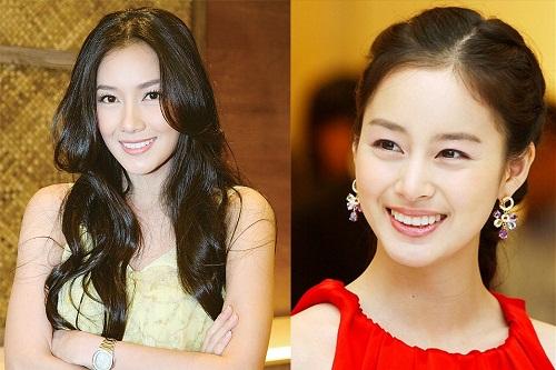 """Vốn được mệnh danh là """"nữ thần sắc đẹp"""" của Hàn Quốc, dù đã ngoài 30 tuổi nhưng Kim Tae Hee vẫn sở hữu vẻ đẹp trong sáng và rạng rỡ khiến ai cũng phải ghen tị. Tuy nhiên, giới giải trí của xứ Chùa Vàng cũng luôn tự hào vì có nữ diễn viên Woranut Bhirombhakdi, cô được cho  có nhiều nét giống Kim Tae Hee đến ngỡ ngàng, thậm chí hai người còn có nhiều điểm tương đồng đầy thú vị."""