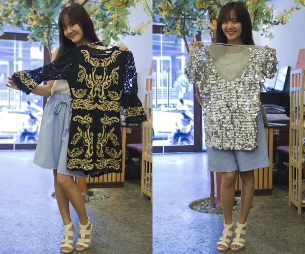 Hai chiếc áo này được Văn Mai Hương rinh về từ Singapore. Lần đầu nhìn thấy, giọng ca Chậm lại một phútđã bị mê mệt bởi hoạ tiết độc đáo, lạ mắt.