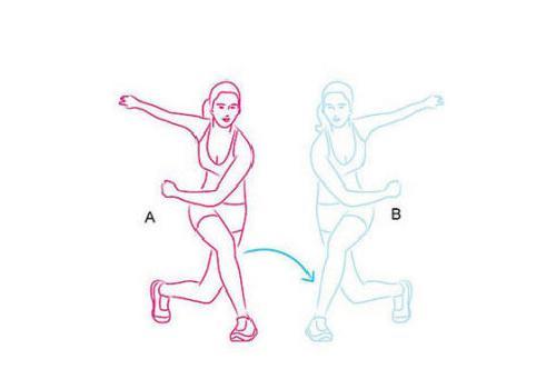 1. Hai chân dạng sang hai bên, vai thả lỏng, chân trái vắt chéo về phía trước, chân buộc phải lùi về phía sau, cùng lúc đó vung tay sang hai bên. Làm lại động tác với bên phải, một tổ phù hợp động tác làm 20 lần.