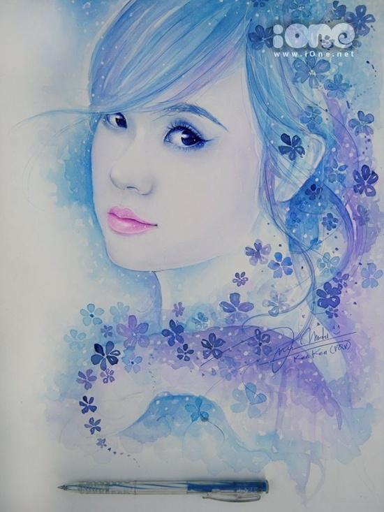Thường Quốc Vẹn sẽ chọn chất liệu thể hiện tùy thuộc vào mẫu. Bức ảnh vẽ hot girl Midu được anh chàng thể hiện bằng bút bi mà màu nước leningrad.