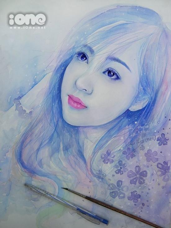 Bức chân dung vẽ Bà Tưng nhận được nhiều lời khen từ cộng đồng mạng. Cùng với bức vẽ Midu, đây là 2 tác phẩm mà cậu bạn 9x rất tâm đắc. Quốc Vẹn cũng mong muốn được gửi tặng bức tranh này đến cô nàng hot girl Sài thành.