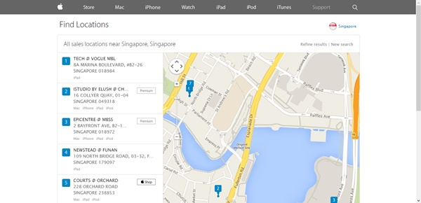 Những cửa hàng do Apple ủy quyền chính thức sẽ được niêm yết trên website của họ. Hãy chắc chắn độ uy tín của cửa hàng bạn mua trước khi chi tiền. Ảnh: Apple Singapore.