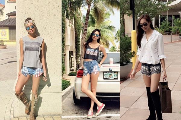 12. Vì sống ở vùng biển Florida, Mỹ nên Chitsanucha đặc biệt ưa thích những kiểu short jean phong cách cùng áo T  shirt đơn giản nhưng không kém phần sexy.