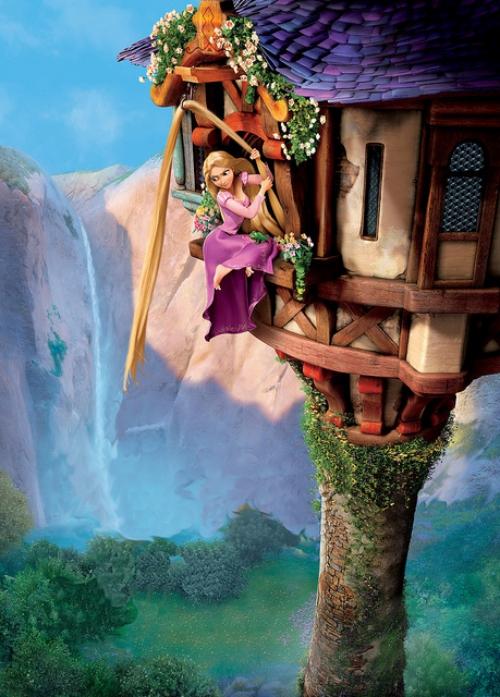 Rapunzel bị bắt cóc từ nhỏ và phải trải qua 18 năm cuộc đờitrong một tòa tháp nhỏ, cách ly hoàn toàn với thế giới bên ngoài.