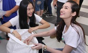 Hoa hậu Trúc Diễm, Triều Dâng 'cười như được mùa' đi gom gạo