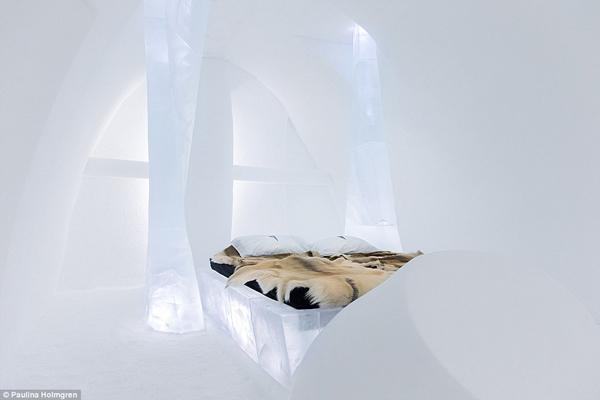 Năm nay, khách sạn băng thiết kế 16 căn phòng nghệ thuật với những chủ đề khác nhau như   thời gian, chuyển mùa và tình yêu. Hai phòng xa hoa nhất được trang bị phòng tắm và xông hơi. Họ đã dùng đến 1.600 tấn băng và tuyết ở sông Torne gần đó để sáng tác.