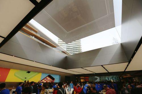 Với trần nhà bằng kính, cửa hàng hoàn toàn có thể nhận được ánh sáng tự nhiên vào ban ngày. Từ đây, khách hàng cũng có thể thấy được các tòa cao ốc bên trên họ.