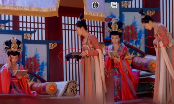 Cảnh trước, cung nữ đang bê khay đứng hầu bên Vi Quý Phi. Sau khi một thái giám vào bẩm   báo, khay trên tay cung nữ đã không cánh mà bay.