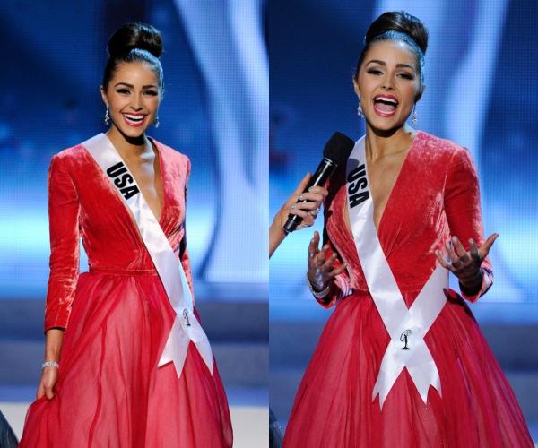 """Trước đó, Hoa hậu Hoàn vũ 2012 - Olivia Culpo nhận được câu hỏi ứng xử:""""Điều gì bạn từng làm và không bao giờ muốn làm lại nữa""""."""