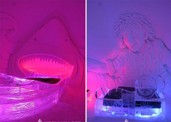 8. Khách sạn tuyết Snow Village ở Kittila, Phần Lan, có 30 phòng với các tác phẩm điêu khắc   sống động trên tường.