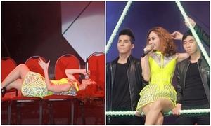 Minh Hằng nằm hát trên sân khấu trước hàng nghìn fan