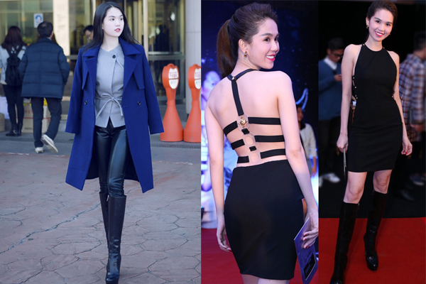 Bốt da đen cổ cao của thương hiệu Dior đã được Ngọc Trinh sử dụng để giúp mình cá tính hơn với quần legging da tiệp màu, áo choàng mùa đông. Nhưng mix đôi bốt này với váy cut out lại là sự thất bại vì giày cao gót sẽ mang lại nét hài hòa hơn.