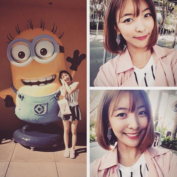 Luna f(x) tít mắt sung sướng chụp hình cùng minion Universal-studios-LA