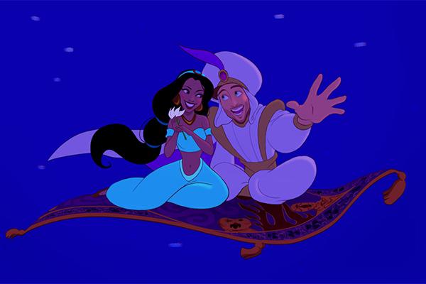 Cặp Aladdin và công chúa Jasmine.