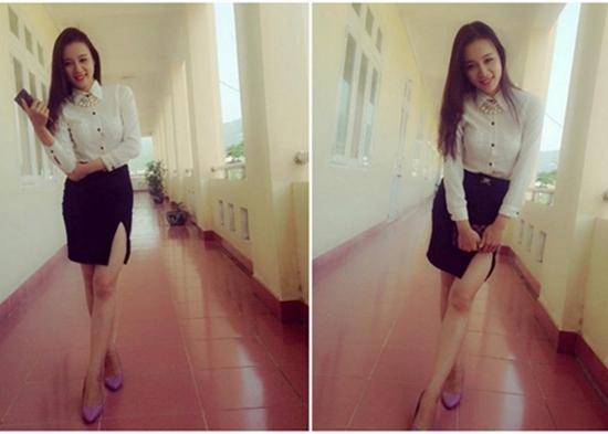 """Bùi Hải Vân là giáo viên dạy lớp 2 tại trường tiểu học Thị Trấn Trới, Hoành Bồ, Quảng Ninh. Cô giáo này được học trò gọi là """"cô giáo hot girl Hàn Quốc"""" vì sở hữu vóc dáng chuẩn, gương mặt xinh đẹp"""