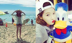 Sao Hàn 23/2: Hyun Ah chu môi làm mỏ vịt, Soo Young gợi cảm trên bãi biển