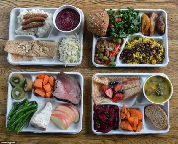 Bữa ăn trưa của                                                          học sinh của                                                          các nước (từ                                                          trên xuống                                                          dưới theo                                                          chiều kim đồng                                                          hồ): Ukraina,                                                          Brazil, Phần                                                          Lan và Pháp.