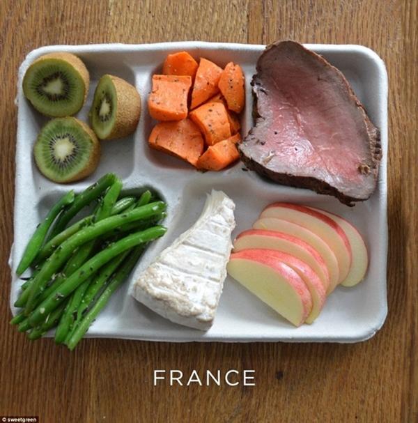 Phomat, đậu đũa xanh, cà rốt, thịt bò cùng                                                          táo và kiwi là                                                          suất ăn của                                                          các trường học                                                          tại Pháp.