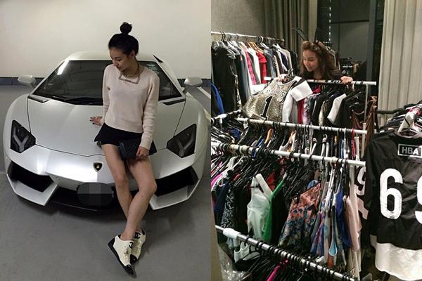 Kim cho biết cô rất thích dùng đồ mang thương hiệu Christian Louboutin và Chanel. Người đẹp   khoe có khoảng 80 đôi giày hiệu Christian Louboutin và 40 chiếc túi xách hiệu Chanel. Thiên kim   tiểu thư chia sẻ hình ảnh một phần tủ đồ của mình và cho biết đây là số trang phục cần thanh lý   vì tủ đã quá chật.