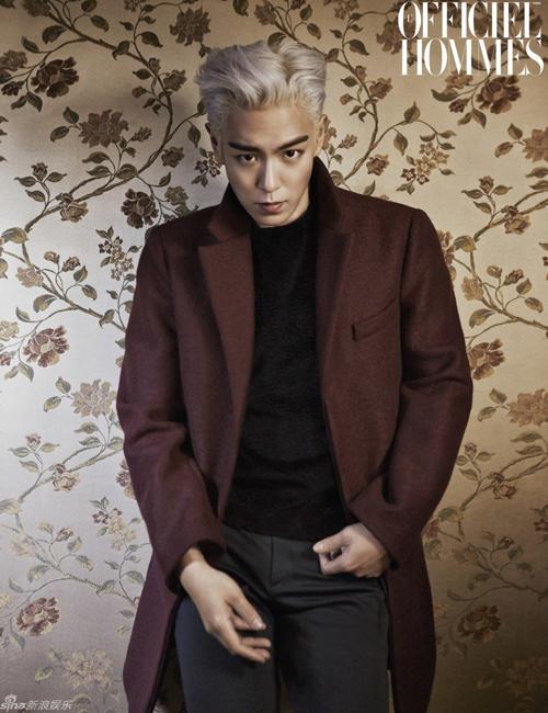 T.O.P (Big Bang) tái xuất trên tạp chí với mái tóc màu bạc sành điệu và biểu cảm cool ngầu.