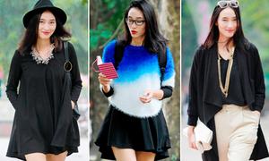 Thử thách sao: Trang Khiếu mix 3 kiểu với một chiếc váy tự thiết kế