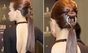 Hoàng Thùy Linh thử mốt tóc móc khóa siêu độc