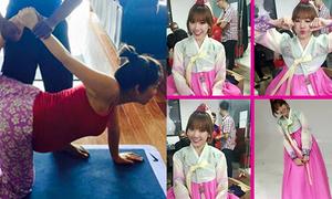 Sao Việt 18/4: Thu Minh ôm bụng bầu tập yoga, Hari Won khoe '50 sắc thái'