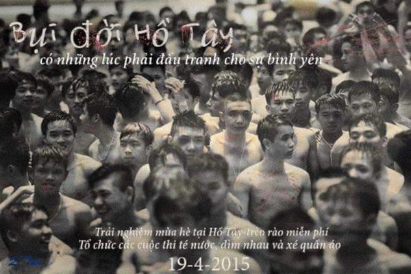 Hình ảnh các chàng trai lội trên con sông lười được chế thành bộ phim Bụi đời Hồ Tây, ngày khởi chiếu là ngày 19/4/2015.