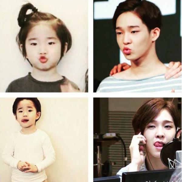 Nhiều kiểu tóc, trang phục, biểu cảm của cậu nhóc được nhận xét là bản sao giống đến   90% của Tae Hyun.