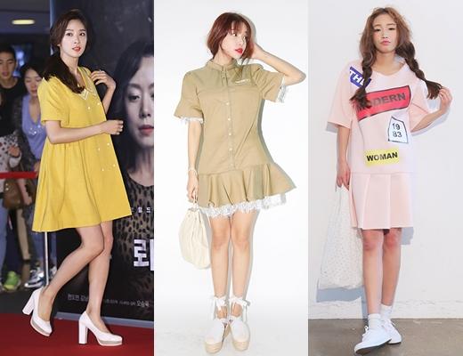 Nư diễn viên Lee Chung Ah chọn một sản phẩm váy xòe rộng để tham dự sự kiện. Màu sắc nổi bật của trang phục giúp cô thu hút sự chú ý nhưng vẫn giữ vẻ năng động.