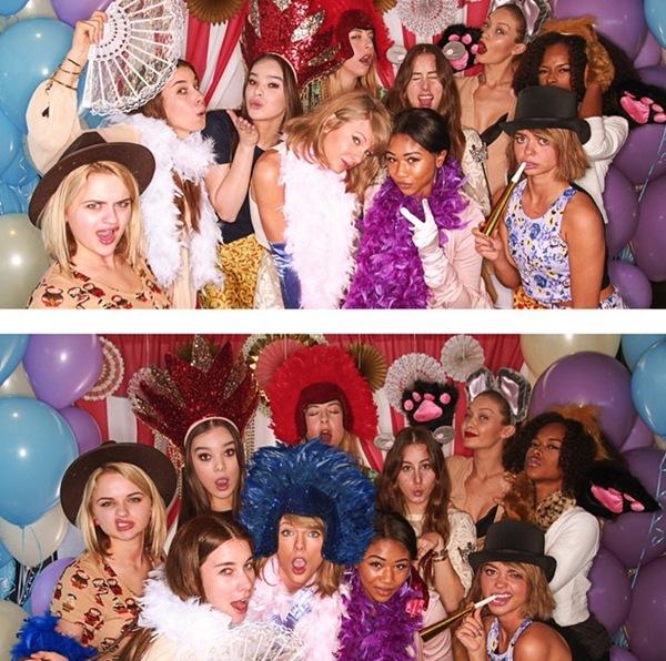 Taylor Swift được đám bạn bao quanh như công chúa.
