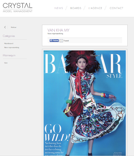 nổi tiếng là một trong những agency hàng đầu nước Pháp, với kinh nghiệm quản lý người mẫu từ năm 1984, Crystal Models Agency nằm ngay trung tâm thủ đô thời trang cao cấp của Paris, với hàng trăm người mẫu sáng giá đang thuộc quyền quản lý hơn 30 năm qua