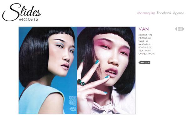 Á quân Vietnams Next Top Model 2012 Kha Mỹ Vân còn xuất hiện trên trang Slides Models  được thành lập năm 1999 - chuyên cung cấp những người mẫu có khả năng catwalk chuyên nghiệp và chụp ảnh thời trang cho các tạp chí. Slides Models là công ty thuộc quyền chủ quản của Crystal Models tại Pháp.