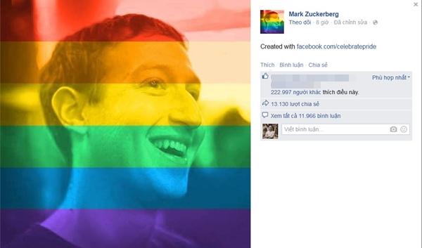 Đồng sáng lập Facebook Mark Zuckerberg cũng đã đổi avatar sang phong cách cờ lục sắc.