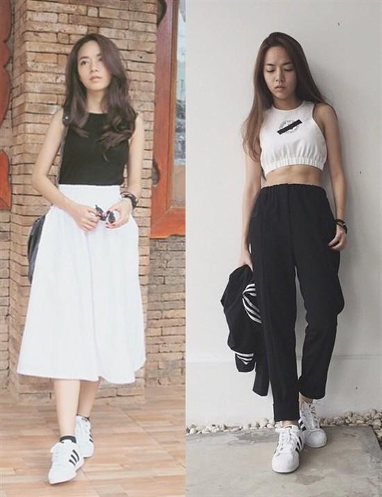 Ngoài phụ kiện khăn turban, Baitoei cũng có niềm đam mê đặc biệt với kiểu giày Adidas Superstar. Điển hình là việc cô nàng có thể diện đôi giày với mọi style từ nữ tính đến năng động.