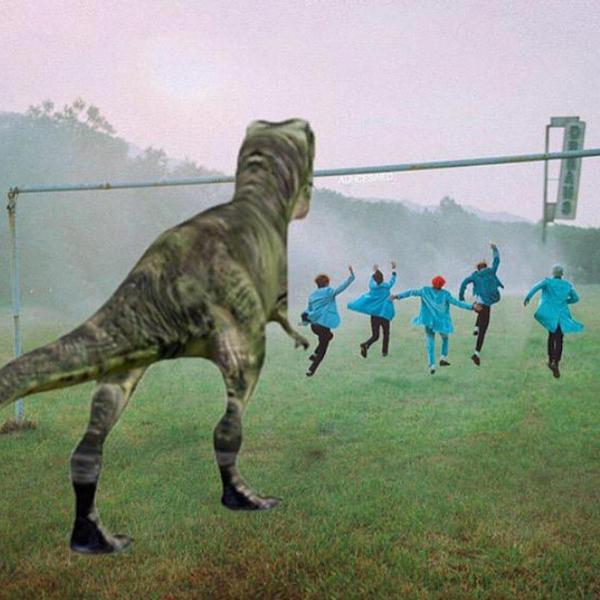 T.O.P đăng ảnh chế hài hước Big Bang chạy tán loạn dưới sự truy đuổi của khủng long.