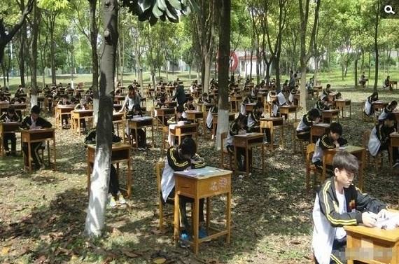 Năm 2014, trường trung học Chengfeng TP Cẩm Châu, tỉnh Hồ Bắc, Trung Quốc cũng thu   hút sự chú ý của cộng đồng mạng sau khi tổ chức kì thi trong rừng.