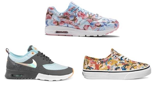 Những đôi giày thể thao màu sắc hay họa tiết bắt mắt là kiểu giày thích hợp với các cô nàng yêu phong cách năng động nhưng lại thích sự độc đáo và tươi trẻ.