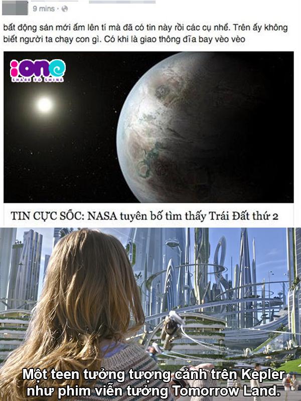 Một teen hài hước vẽ ra cảnh trên hành tinh Kepler với tàu bay hiện đại.