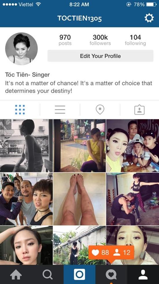 Tóc Tiên khoe trang Instagram hút 300 nghìn lượt followers.