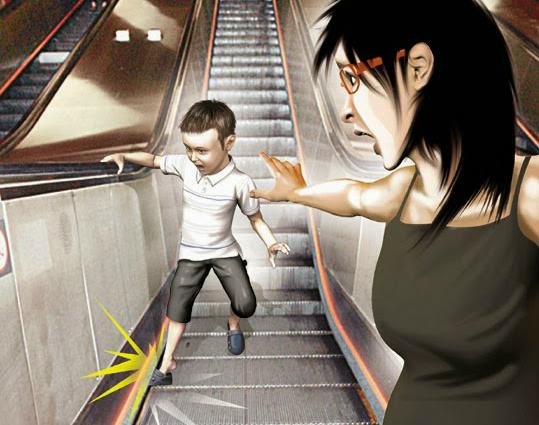 Đừng chủ quan với những khe hở trên thang cuốn.