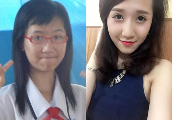 So với thời học lớp 8, cô bạn Bùi Lê Phương Thanh xinh hơn nhiều nhờ cách trang điểm.