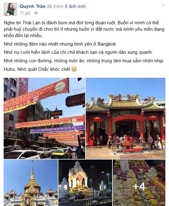 Quỳnh Trân đau xót nghe tin đất nước Thái Lan bị đánh bom.
