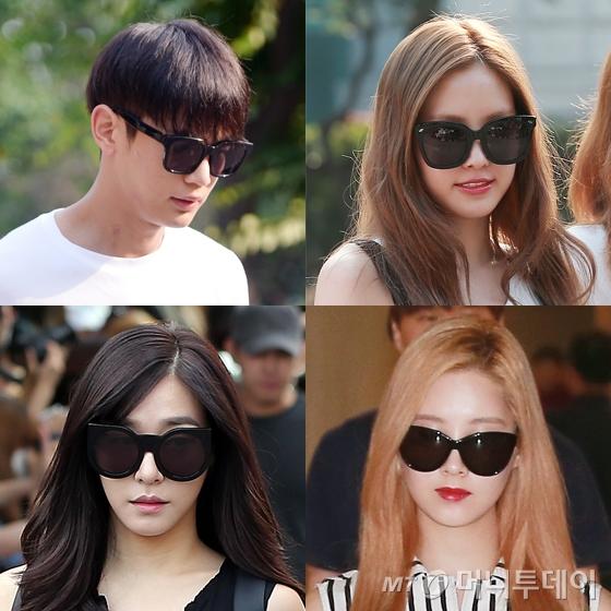 Kính đen luôn là loại phụ kiện khó thiếu của sao Hàn khi ra sân bay hay. Kiểu kính mắt đen, to bản luôn được các sao ưa chuộng nhất vì dễ kết hợp trang phục lại giúp che gương mặt chưa trang điểm.