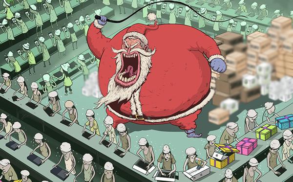 Ông già Noel trở thành một ông lão độc ác thúc ép công nhân lắp smartphone để kịp làm quà cho trẻ em.