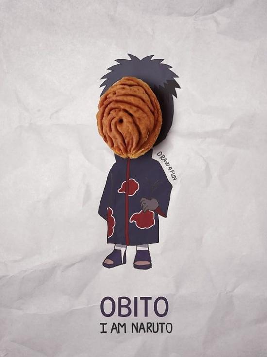 Obito với chiếc mặt nạ làm bằng hạt đào.