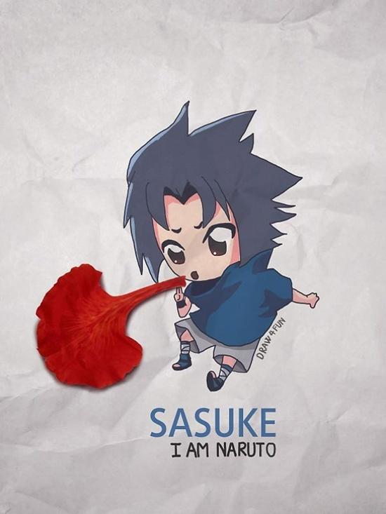 Sasuke tung bùa phép bằng bông phượng.