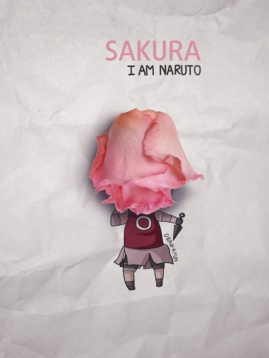 Sakura với khuôn mặt biến hình từ bông hồng.