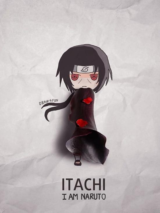 Itachi cực phong cách với áo choàng làm từ hoa loa kèn tím.